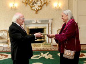 Ambassador to the Republic of Ireland Aino Lepik von Wirén presented her credentials to President Michael D. Higgins in Dublin.