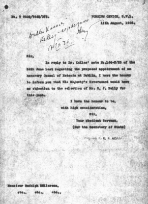 Note with consent from the British Foreign Office to appoint Richard Kelly as honorary consul. Photo: National Archives (ERA.957.3.450)