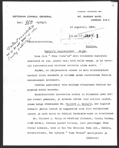 Letter from the Estonian Embassy in London to the Foreign Office in London regarding Richard Kelly's nomination as an honorary consul. Photo: National Archives (ERA.957.3.450)