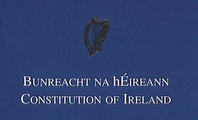 The front cover of the book Constitution of Ireland. Photo: Wikipedia
