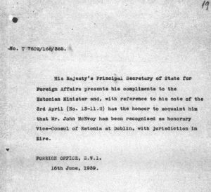 Note from the British Foreign Office, recognising John McEvoy as the honorary consul of Estonia in Dublin. Photo: National Archives (ERA.957.3.449)