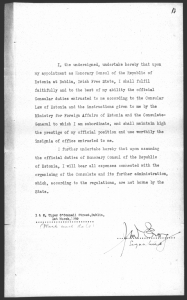 John McEvoy's letter regarding his appointment as the honorary consul of Estonia in Dublin. Photo: National Archives (ERA.957.3.449)