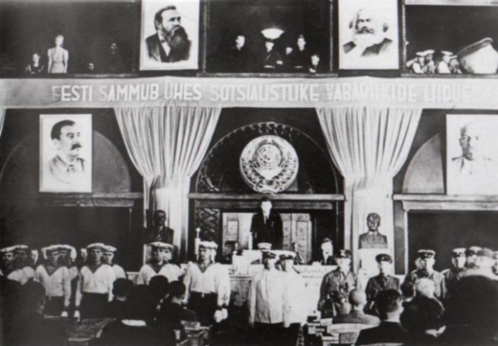 First sitting of the Riigikogu elected under the conditions of occupation. Photo: Nädal Pildis, 1940