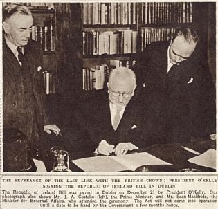 President O'Kelly signing the Act on 21 December 1948. Photo: Illustrated London News