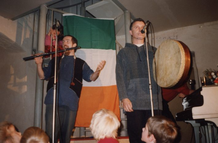 Irish Culture Week in Tallinn, autumn 1995. Dave Murphy and Harry Bent performing in the Kloostri Ait Café. Photo: Krista Kaer's private collection