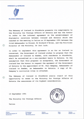 Letter from the Irish Embassy in Stockholm to the Estonian Ministry of Foreign Affairs. Photo: Archives of the Ministry of Foreign Affairs of Estonia